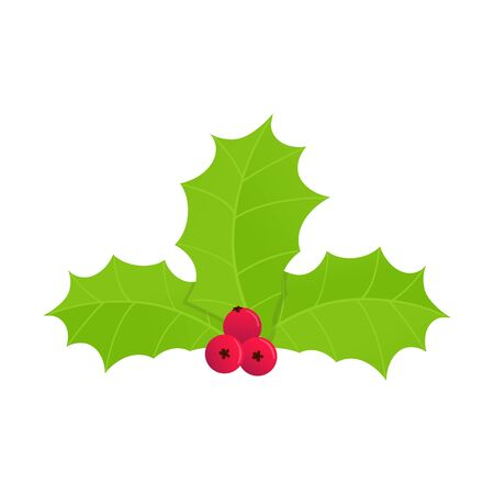 Winter and holiday symbol - holly berries icon sign. Green leaves and red berries cartoon flat style gradient design vector illustration isolated on white background