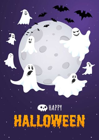 Happy Halloween text postcard banner with ghosts scary face, night sky, moon, flying bats and text happy halloween isolated on dark background flat style design. Иллюстрация
