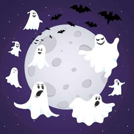 Happy Halloween composition with ghost scary face, night sky, moon, flying bats and text happy halloween isolated on dark background flat style design.