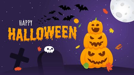 Happy halloween pumpkins with scary faces expression grimace, with moon, bats, graves and human scull flat style design vector illustration isolated on dark background and text.