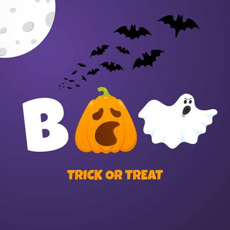 Happy halloween poster with pumpkin scary face expression grimace, ghost, bats, moon and textbook flat style design vector illustration
