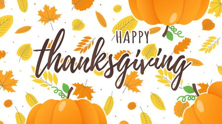 Happy thanksgiving day flat style design poster vector illustration with big pumpkins and autumn leaves.