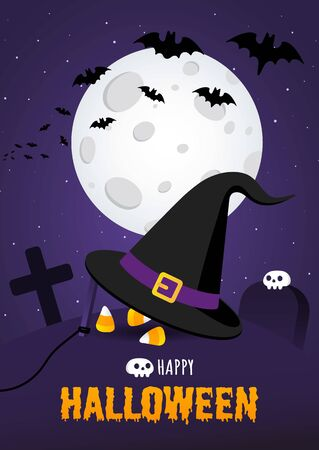 Happy halloween poster with big witch hat and candy on the grave ground flat style design vector illustration isolated on dark background.