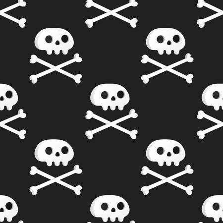 Seamless pattern with white skulls and crossing bones isolated on white background flat style design vector illustration.