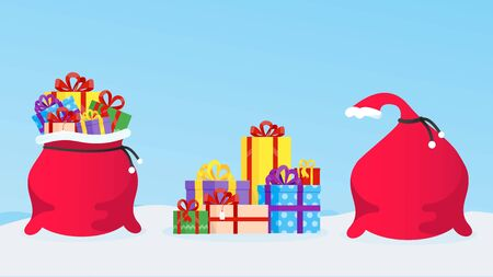 New Year or christmas gift bag full of gifts, pile of presents boxes and closed gift bag flat style design