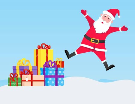 Santa Claus jumps with hat, beard and smiling face flat style character vector illustration. Christmas eve mascot symbol isolated on light blue background