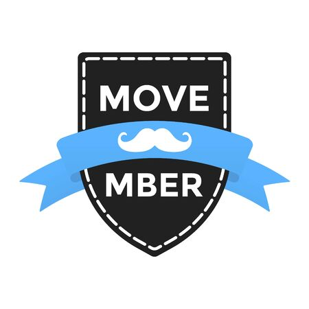 Movember badge label with blue ribbon, mustaches and badge pin flat style design vector illustration isolated on white background.