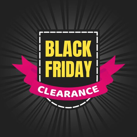 Black friday sale inspiration poster, banner or flyer vector illustration isolated on dark background. Big holiday mega sale with ribbon, label tag and text