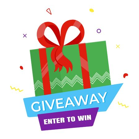 Giveaway gift concept for winners in social medias flat style design vector illustration. Internet give away poster for bloggers prize announcement random quizes flyer leflet on white background