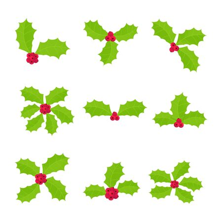 9 Winter and holiday symbol - holly berries icon signs. Green leaves and red berries cartoon flat style gradient design vector illustration isolated on white background Иллюстрация