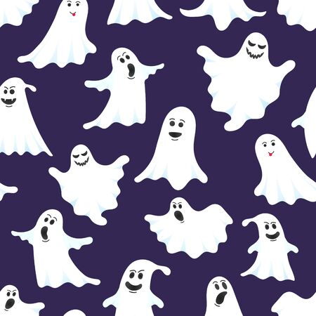 Halloween seamless pattern with cartoon design style ghosts set vector illustration set isolated on dark background. Halloween boo spooky symbols flying above the ground. Иллюстрация