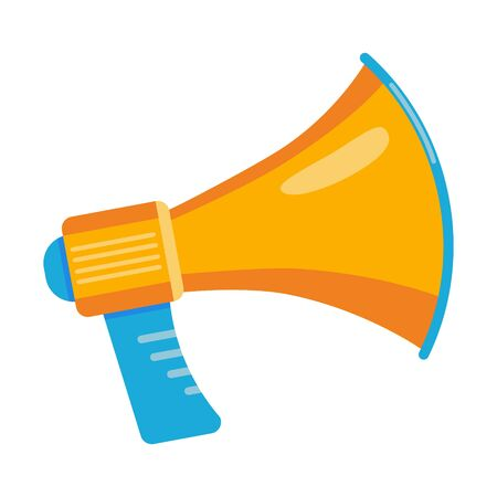 Colorful megaphone flat style design vector illustration icon sign isolated on white background. The bullhorn to announsment, protest or social media concept.