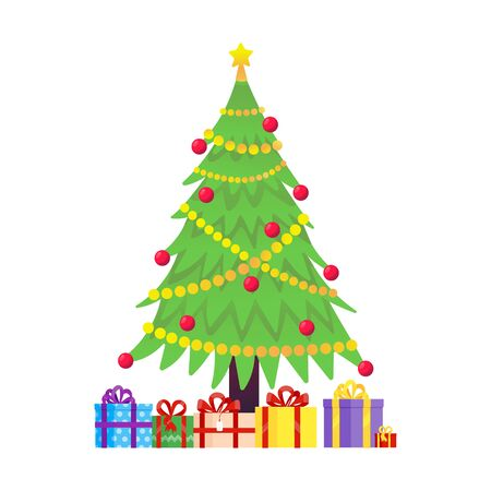 Christmas tree fir flat style design icon sign vector illustration. Symbol of family xmas holiday celebration isolated on white background with pile of gifts below. Merry christmas, happy new year.