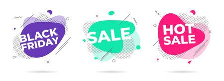 3 Modern liquid abstract sale, hot sale, black friday text set flat style design fluid amoeba color vector illustration banners or flyer leflet icon sign.