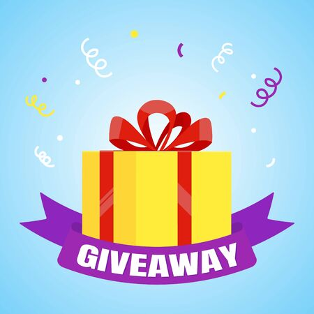 Giveaway gift concept for winners in social medias flat style design vector illustration. Internet give away poster for bloggers prize announcement random quizes flyer leflet on light blue background. Vectores