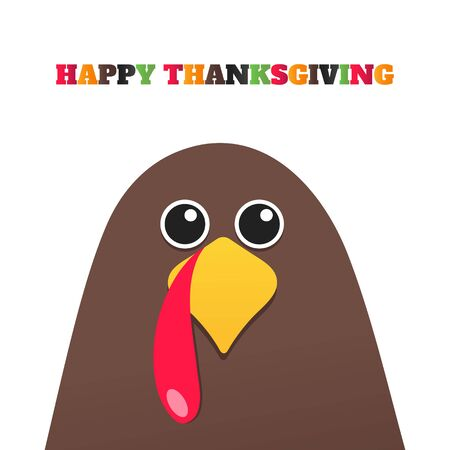 Happy thanksgiving day flat style design poster vector illustration with turkey and text. Turkey bird with colored feathers celebrate holidays.