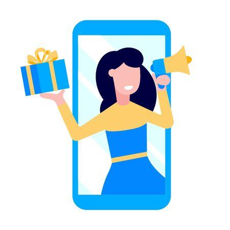 Poleć znajomemu płaski projekt wektor ilustracja na białym tle. Kobieta z megafonem i pudełko upominkowe stojąc w smartfonie i krzyczeć. Symbole koncepcji reklamy w mediach społecznościowych.
