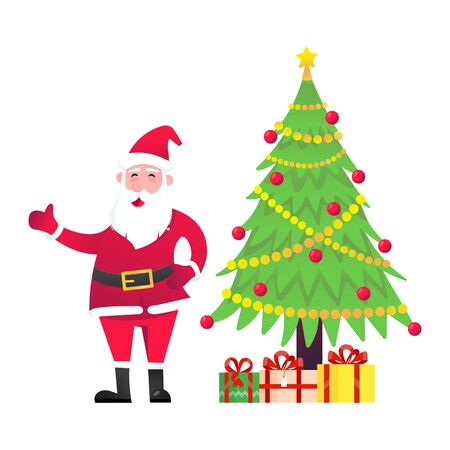 Santa Claus with christmas tree fir and present gifts standing up with falling snow flat style design vector illustration. Merry christmas and happy new year symbols.