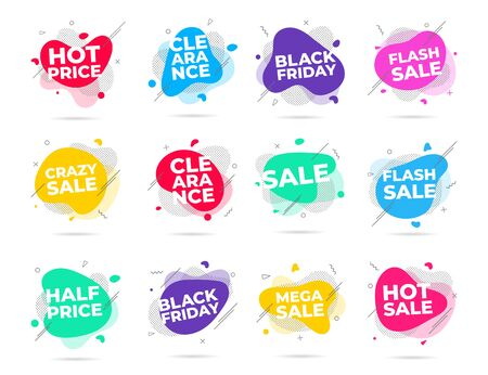 12 Modern liquid abstract flash sale, clearance, black friday, etc. text set flat style design fluid amoeba color vector illustration banners or flyer leflet icon sign.