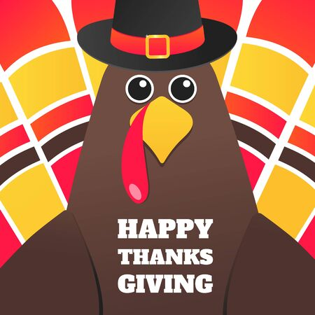 Happy thanksgiving day flat style design poster vector illustration with turkey, text and autumn leaves. Turkey with hat and colored feathers celebrate holidays