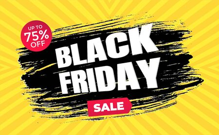 Black friday sale discount clearance banner with brush stroke template concept, text and button sale vector illustration isolated on yellow background