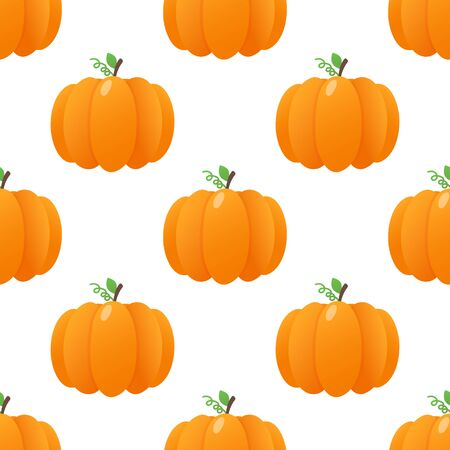 Seamless colorful pumpkins pattern with vegetables gradient flat style design vector illustration isolated on white background