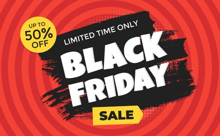 Black friday sale discount clearance banner with brush stroke template concept, text and button sale vector illustration isolated on red background Иллюстрация