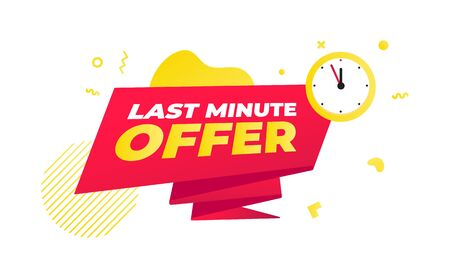 Last minute offer sale countdown ribbon badge icon sign with big red ribbon, clock, abstract elements behind isolated on white background. Иллюстрация