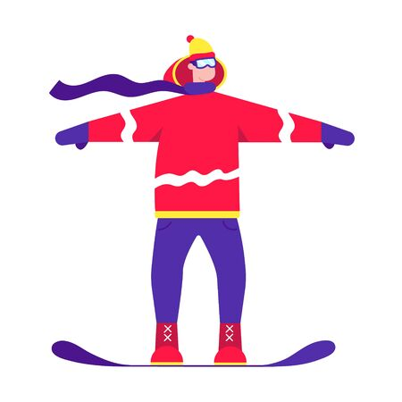 Male person skates on a snowboard flat style design character standing up on the snow. Winter sports activities vector illustration isolated on white background