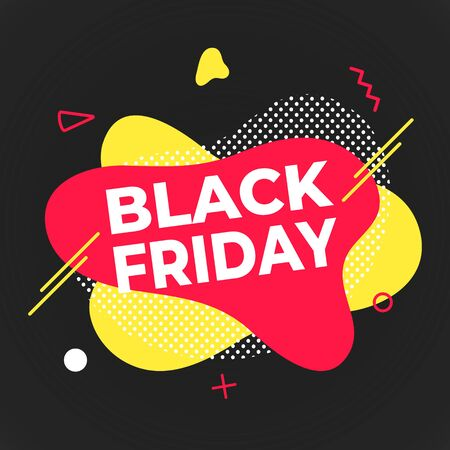 Black friday poster or banner design template vector illustration. Sale shopping discount banner for web or store discount clearance concept with simple shapes isolated on dark background.