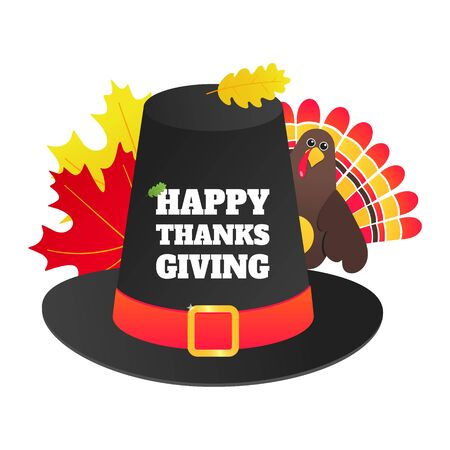 Happy thanksgiving day flat style design poster vector illustration with turkey, big hat, text and autumn leaves. Turkey with hat and colored feathers celebrate holidays.