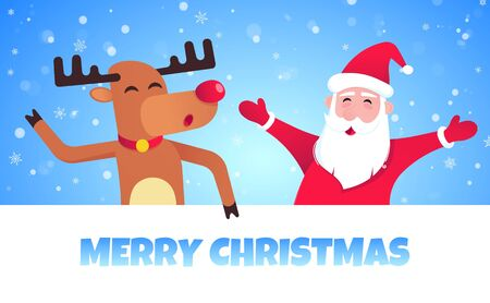 Santa Claus and reindeer flat style design icon sign vector illustration postcard.