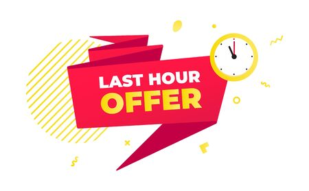 Last hour offer sale countdown ribbon badge icon sign with big red ribbon, clock, abstract elements behind isolated on white background. Иллюстрация