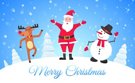 Santa Claus, reindeer and snowman flat style design vector illustration postcard. Symbol of xmas holiday celebration isolated on bright snow background wish you a merry christmas and happy new year.