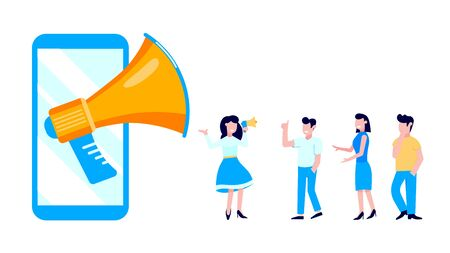 Refer a friend flat style design vector illustration isolated on white background. Woman with megaphone shout out to the people, man with thumb up and smartphone with megaphone