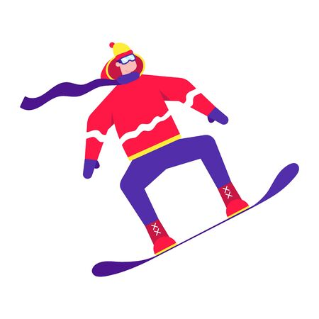 Male person jumps on a snowboard flat style design character riding on the snow. Winter sports activities vector illustration isolated on white background