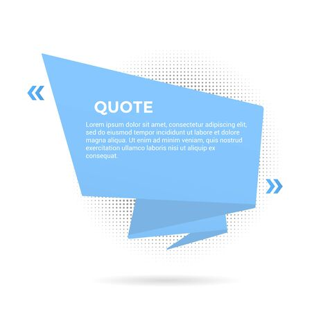 Big ribbon with quote text space vector illustration isolated on white background. Quotation remark, mention frame like speech bubble or callout text template concept