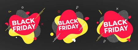 3 Black friday poster or banner design template vector illustration. Sale shopping discount banner for web or store discount clearance concept with simple shapes isolated on dark background. Ilustracja