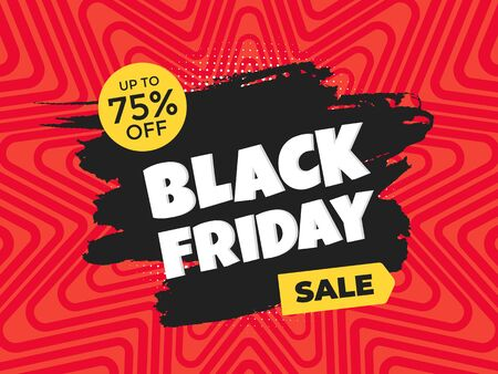 Black friday sale discount clearance banner with brush stroke template concept, text and button sale vector illustration isolated on red background Ilustracja