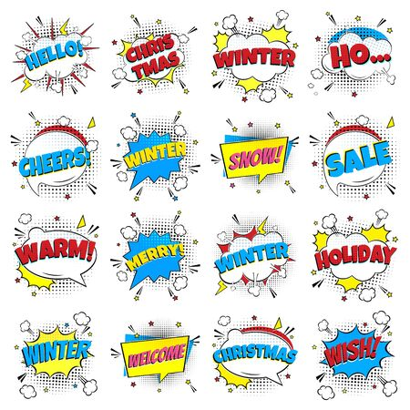 16 Comic Winter Lettering In The Speech Bubbles Comic Style Flat Design. Dynamic Pop Art Vector Illustration Isolated On White Background. Exclamation Concept Of Comic Book Style Pop Art Voice Phrases