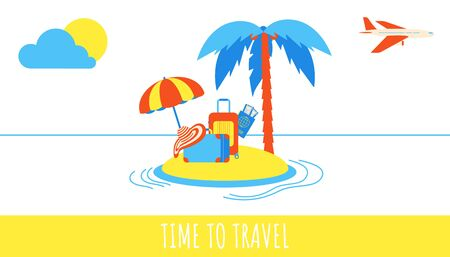 Isolated on white background. Text, plane, flip flops, luggage suitcase, pasport, tickets signs