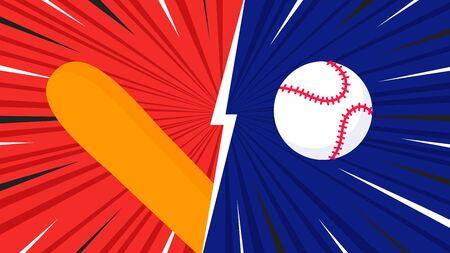 Versus screen on the baseball game flat style design vector illustration. Fight screen for battle or gaming. Red versus blue. Fight!  イラスト・ベクター素材