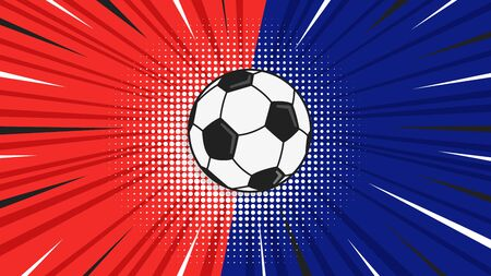 Versus screen flat style design with soccer ball on the halftone background vector illustration. Fight screen for game battle. Soccer versus game.