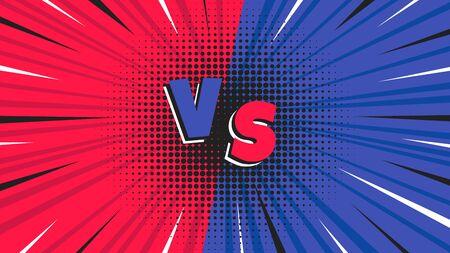 Versus ilustración de vector de diseño de estilo plano de pantalla. Pantalla de lucha para batallas o juegos. Rojo contra azul. ¡Lucha!