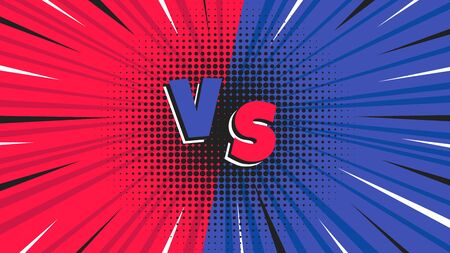 Versus screen flat style design vector illustration. Fight screen for battle or gaming. Red versus blue. Fight!