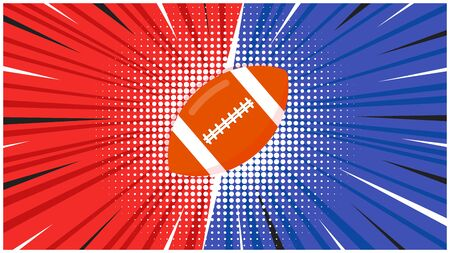 Versus screen with orange american football ball flat style design icon sign on the halftone background vector illustration. Fight screen for game battle. Football versus game!  イラスト・ベクター素材