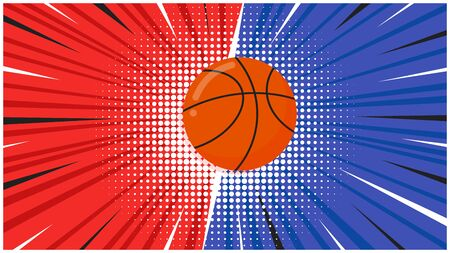 Versus screen flat style design with basketball ball on the halftone background vector illustration. Fight screen for game battle. Basketball versus game.