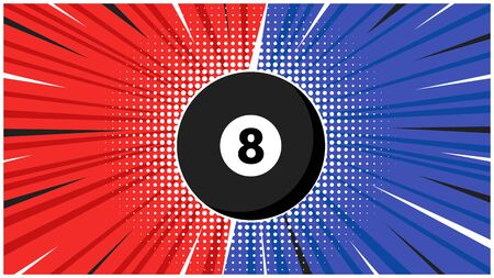 Versus screen flat style design vector illustration. Fight screen for battle or gaming black pool ball eight 8. Red versus blue. Fight!
