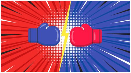 Versus screen with boxing gloves flat style design vector illustration. Fight screen for battle or gaming. Red versus blue. Fight!  イラスト・ベクター素材