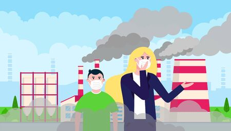 Confused woman in masks against smog. Fine dust, air pollution, industrial smog protection concept flat style design vector illustration. Clouds of smoke